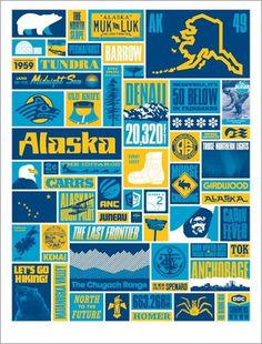 put me in your blue skies. #print #yellow #alaska #illustration #poster #blue