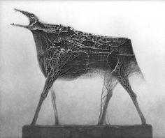 Zdzisław Beksiński dark horse #dark #black #white #painting