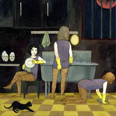 Washroom, Jen Tong #illustration #dishwashers #cat #girls