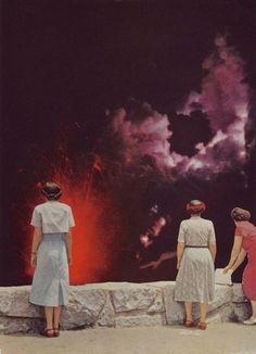 this is a what #collage #woman #volcano #elizabeth hoeckel