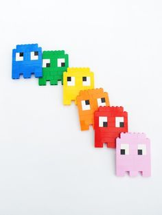 Lego // 8 bit ghosts, eyes & skulls!, by Mini eco #pacman #lego