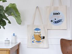 #nordic #design #graphic #illustration #danish #bright #simple #nordicliving #living #interior #kids #room #tote #bag #sailor #kiss