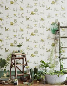 Dino 00 Papel de pared infantil magnético con dinosaurios #interior #dinosaurs #pattern #plants