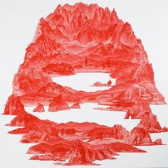 Even if the whole world were to fall to pieces, the unity of the... - but does it float #illustration #red #landscape