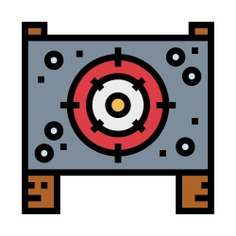 See more icon inspiration related to targeting, bullets, shoot, shooting, weapons, board, target and signs on Flaticon.