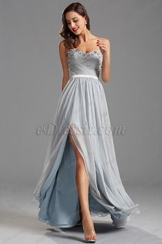 Strapless Sweetheart Slit Evening Dress with Lace Applique (00160208)