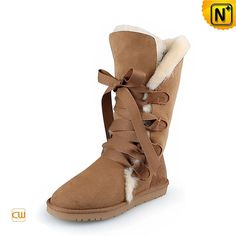 Ladies Brown Shearling Lined Boots CW314403 #boots #shearling #lined