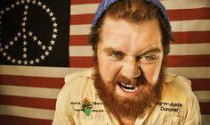 Lawson Bunch - Art Is War - by Jacob Fulton #americana #lawson #red #america #beanie #flag #photo #beard #picture #jacob #photography #hat #portrait #hippie #fulton #fashion #man #peace #growl