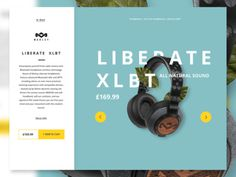 teal, headphones, website, design, web, simple