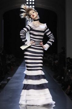 NOWFASHION | 26.01.2011 - Jean Paul Gaultier - Haute Couture - Spring Summer 2011 - Paris #paris #week #stripes #haute #couture #fashion #jean #gaultier #paul