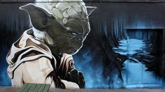 Yoda graffiti street art
