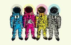 CMYK Spacemen Art Print by Matt Fontaine | Society6 #vector #digital #scifi #cmyk #spacemen