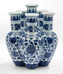Rare sechshalsige Vase with underglaze blue decor, 'Liukongping' #Sets #Teasets #Porcelainsets #Antiqueplates #Plates #Wallplates #Figures #Porcelainfigurines #porcelain