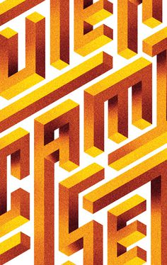 Impossible lettering #lettering #optical #illusion #geometric #shirt #grid #typeface #gradient
