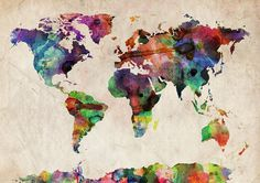 World Map Watercolor by Michael Tompsett #tech #flow #gadget #gift #ideas #cool