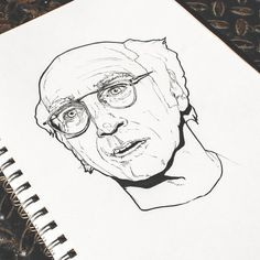 Larry David - Pen & Ink illustration by Timothy McAuliffe. Gold Van™