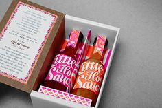 "Little Hot Sauce design, packaging and illustration by Sarah Schiesser""Little Hot Sauce features bottles of custom-made sauce sourced from a #pattern #branding #packaging #design #graphic #hot"