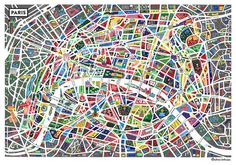Neon Map Of Paris #map