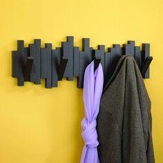 Sticks Wall-Mount Rack with Five Hooks #hooks #home