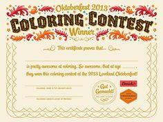 Oktoberfest Coloring Contest Certificate #oktoberfest #certificate #typography