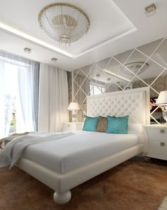 Artistic design in bedroomwith white color