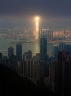 Tower of Sauron in Hong Kong. #sun #kong #aerial #city #sunshine #metropolis #shine #glow #reflection #hong #tower #buildings