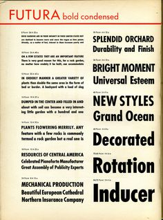 This is a specimen of Paul Renner's Futura Bold Condensed font.