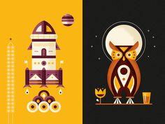 Kaffe 1668 - Juice Labels #water #owl #wine #illustration #rocket #planets #flags