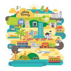 HashTag Hey Penang #illustration #campaign #tourism #social media #malaysia #penang