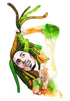 El Gran Bob - Ilustracixc3xb3n vectorial #vector #marley #icon #roots #bob #illustration #music #reggae #character