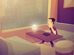 Dribbble - _116 by Justin Mezzell #cafe #illustration #man #tablet