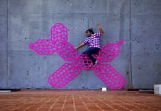 street art, installation, pink, minimal, sculpture