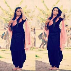 Stunning Black Patiyala Suit With Pink Dupatta