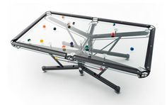 A modern twist on a traditional game, these pool tables are centerpieces for any modern games room or living space. #billiards #design #product #pool #industrial #table