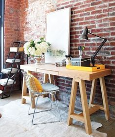 Likes | Tumblr #interior #brick #lamp #chair #painting #table