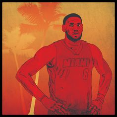Life's a Beach Lebron James TIM™ #playoffs #heat #lebron #nba #james #illustration #drawing #basketball #miami