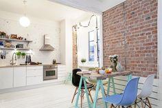 Brick accent wall in kitchen #kitchen #interiors #brick