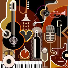 Abstract Music Background - vector illustration. Collage with musical instruments. #bottle #drink #alcohol #musical #glass #illustration #music #abstract #guitar #background #white #mic #trumpet #jazz #design #restaurant #brown #gray #coffee #party #piano #drum #m #cup #grey #keyboard #black #microphone #cafe #art #nightclub #instruments #cocktail