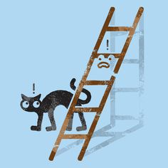 David Olenick worx @ ShockBlast #cat #black #illustration #unlucky #ladder #lucky
