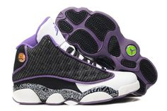Jordan 13 GS Black White Purple Nike Womens Size Basketball Shoes #shoes