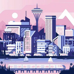 """Designarf on Instagram: """"By [ @nickslaterdesign ] . Little practice illustration I did today for fun of Seattle. . Use #designarf to be featured! ."""""""