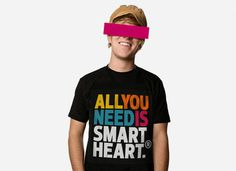 All you need is SmartHeart T-Shirt #heart #text #young #print #shirt #smart #emotional #colorful #minimal #type #typography