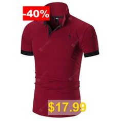 Men #T-shirt #Deer #Print #Turn-down #Collar #- #RED #WINE