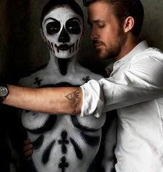 Ryan Gosling And A Naked Skeleton Woman #ryan #woman #photography #skull #gosling