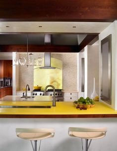 Yellow colored kitchen bar