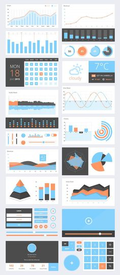 3D Charts & Graphs UI Components PSD