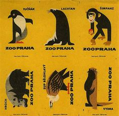 Animal Illustration Zoo Praha by Solo Lipnik #illustration #animal #vintage #zoo #pinguin #eagle #monkey #rhino