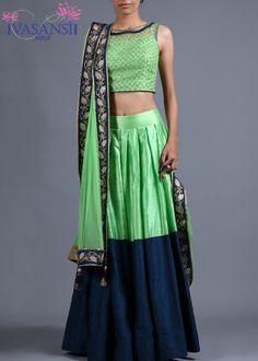 Vasansi Green Raw Silk Crop Set Lehenga