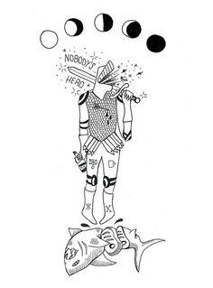 Nobody's hero #shark #hero #illustration #bw #moon
