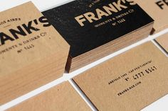 Frank's Moments & Drinks : Lovely Stationery . Curating the very best of stationery design #business #card #black #brown #collateral #paper